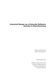 Industrial Design as a Culturally Reflexive Activity in Manufacturing
